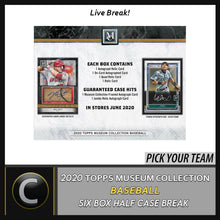 Load image into Gallery viewer, 2020 TOPPS MUSEUM COLLECTION 6 BOX HALF CASE BREAK #A895 - PICK YOUR TEAM