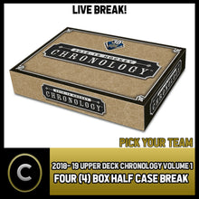 Load image into Gallery viewer, 2018-19 UPPER DECK CHRONOLOGY VOL 1 4 BOX HALF CASE BREAK #H750 - PICK YOUR TEAM