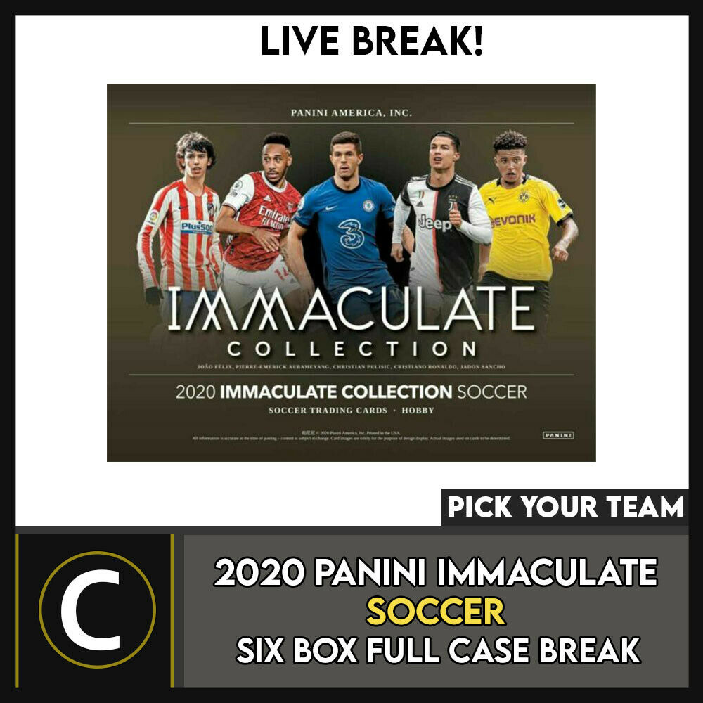 2020 PANINI IMMACULATE SOCCER 6 BOX (FULL CASE) BREAK #S117 - PICK YOUR TEAM
