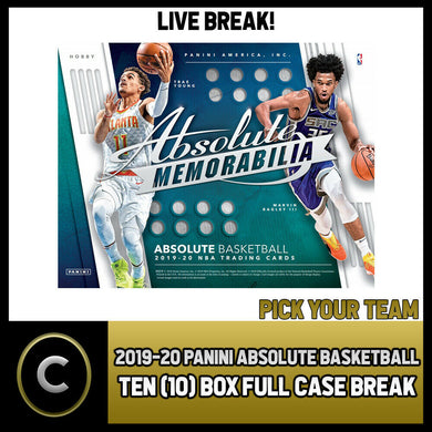 2019-20 PANINI ABSOLUTE MEMORABILIA 10 BOX CASE BREAK #B263 - PICK YOUR TEAM