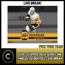 Load image into Gallery viewer, 2019-20 UPPER DECK SERIES 1 HOCKEY 12 BOX FULL CASE BREAK #H744 - PICK YOUR TEAM