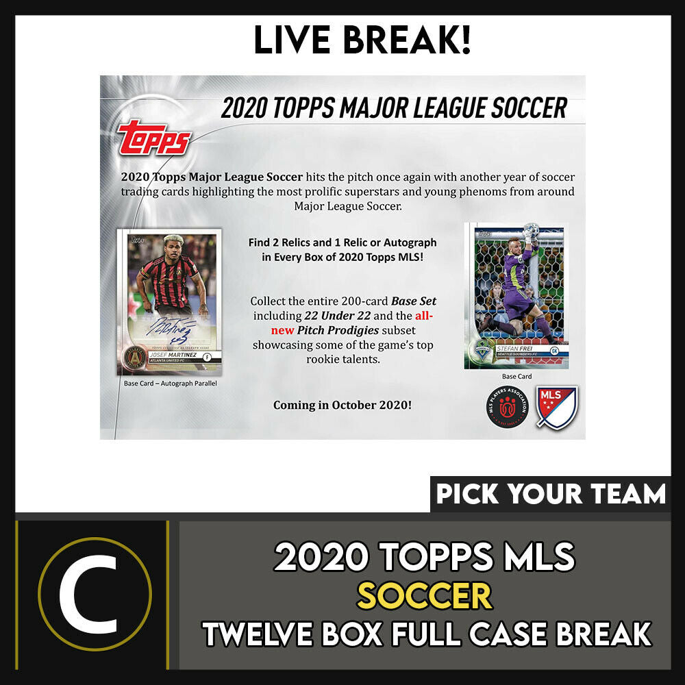 2020 TOPPS MLS SOCCER 12 BOX (FULL CASE) BREAK #S115 - PICK YOUR TEAM