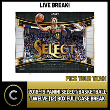 Load image into Gallery viewer, 2018-19 PANINI SELECT BASKETBALL 12 BOX (FULL CASE) BREAK #B162 - PICK YOUR TEAM