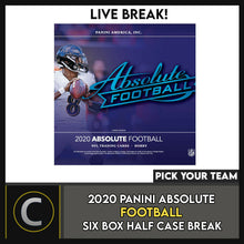 Load image into Gallery viewer, 2020 PANINI ABSOLUTE FOOTBALL 6 BOX (HALF CASE) BREAK #F550 - PICK YOUR TEAM