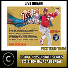 Load image into Gallery viewer, 2018 TOPPS UPDATE SERIES BASEBALL 6 BOX HALF CASE BREAK #A479 - PICK YOUR TEAM