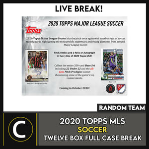 2020 TOPPS MLS SOCCER 12 BOX (FULL CASE) BREAK #S111 - RANDOM TEAMS -