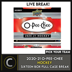 2020-21 O-PEE-CHEE HOCKEY 16 HOBBY BOX (FULL CASE) BREAK #H901 - PICK YOUR TEAM