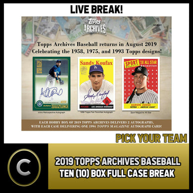 2019 TOPPS ARCHIVES BASEBALL 10 BOX (FULL CASE) BREAK #A440 - PICK YOUR TEAM