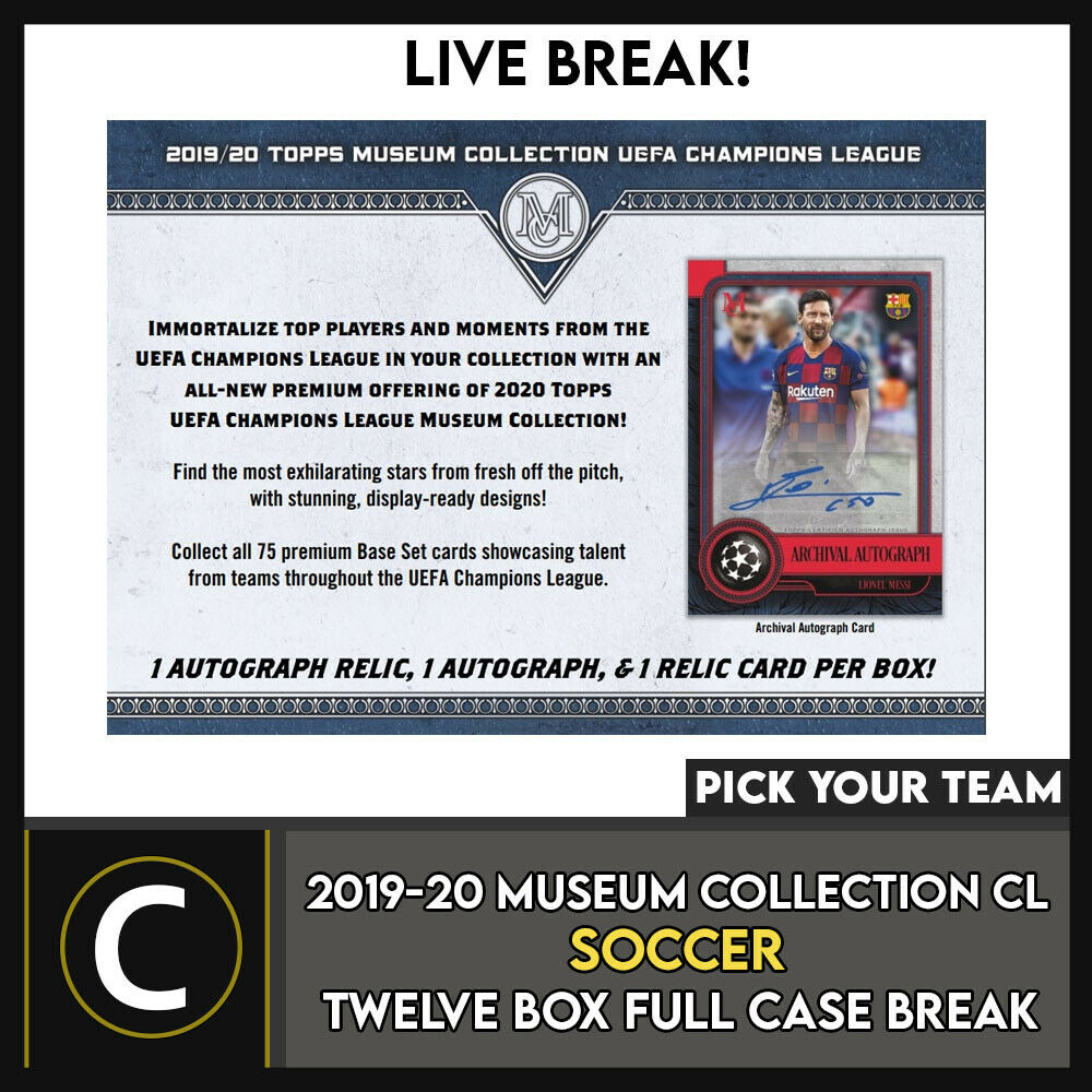 2019-20 TOPPS UEFA MUSEUM SOCCER 12 BOX (FULL CASE) BREAK #S105 - PICK YOUR TEAM