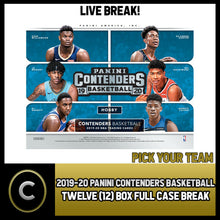 Load image into Gallery viewer, 2019-20 PANINI CONTENDERS 12 BOX (FULL CASE) BREAK #B403 - PICK YOUR TEAM