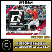 Load image into Gallery viewer, 2019 DONRUSS BASEBALL - 16 BOX (FULL CASE) BREAK #A173 - PICK YOUR TEAM