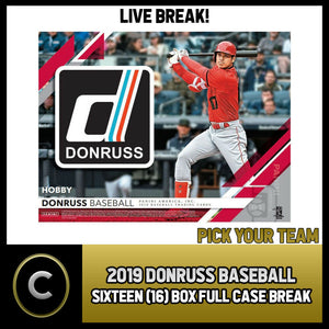 2019 DONRUSS BASEBALL - 16 BOX (FULL CASE) BREAK #A173 - PICK YOUR TEAM