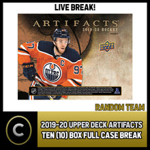 Load image into Gallery viewer, 2019-20 UPPER DECK ARTIFACTS 10 BOX (FULL CASE) BREAK #H446 - RANDOM TEAMS