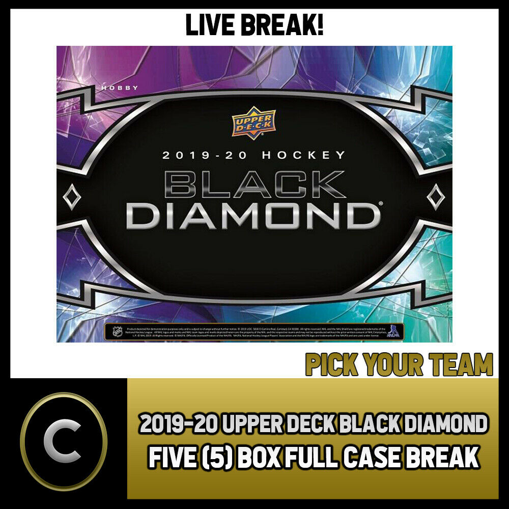 2019-20 UPPER DECK BLACK DIAMOND 5 BOX (FULL CASE) BREAK #H870 - PICK YOUR TEAM