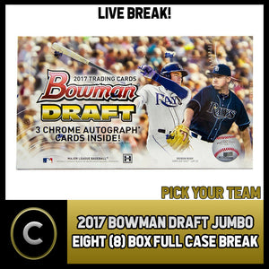 2017 BOWMAN DRAFT JUMBO BASEBALL 8 BOX (FULL CASE) BREAK #A522 - PICK YOUR TEAM