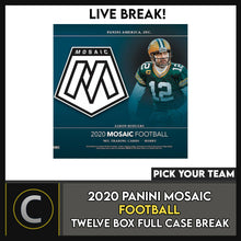 Load image into Gallery viewer, 2020 PANINI MOSAIC FOOTBALL 12 BOX (FULL CASE) BREAK #F539 - PICK YOUR TEAM