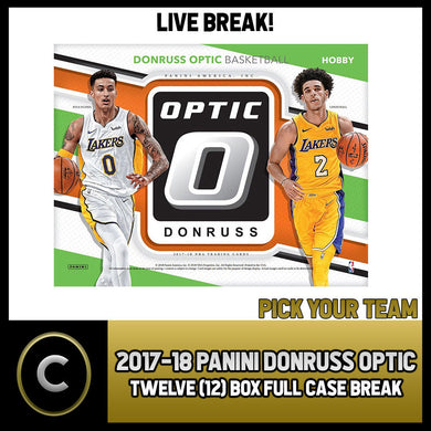2017-18 PANINI DONRUSS OPTIC 12 BOX FULL CASE BREAK #B020 - PICK YOUR TEAM -