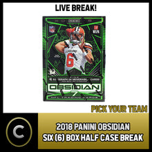 Load image into Gallery viewer, 2018 PANINI OBSIDIAN FOOTBALL 6 BOX (HALF CASE) BREAK #F046 - PICK YOUR TEAM