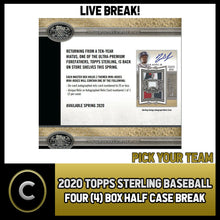 Load image into Gallery viewer, 2020 TOPPS STERLING BASEBALL 4 BOX (HALF CASE) BREAK #A685 - PICK YOUR TEAM