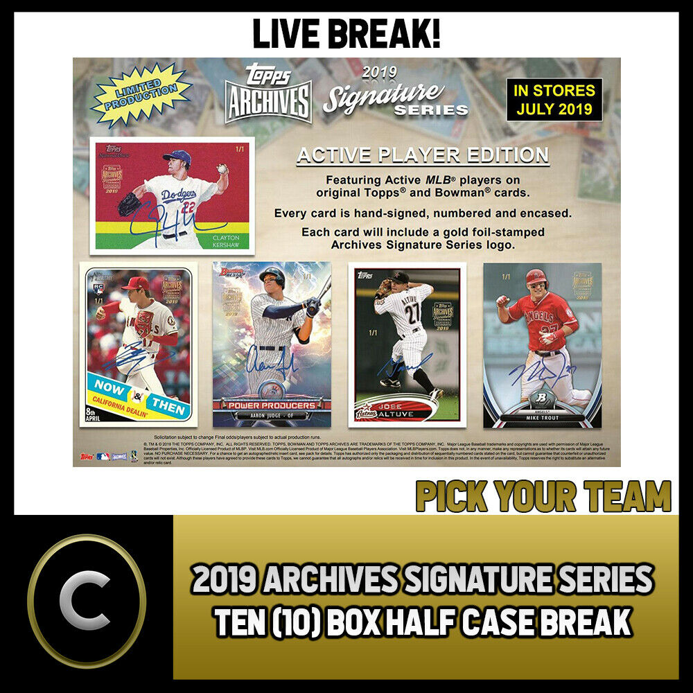 2019 TOPPS ARCHIVES SIGNATURE SERIES 10 BOX BREAK #A261 - PICK YOUR TEAM