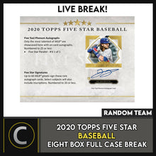 Load image into Gallery viewer, 2020 TOPPS 5 STAR BASEBALL 8 BOX (FULL CASE) BREAK #A927 - RANDOM TEAMS
