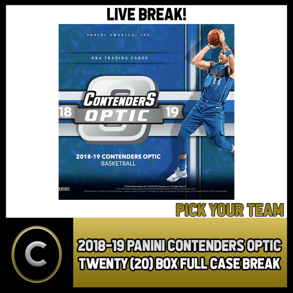 2018-19 PANINI CONTENDERS OPTIC 20 BOX FULL CASE BREAK #B196 - PICK YOUR TEAM -