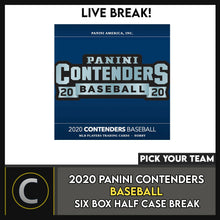 Load image into Gallery viewer, 2020 PANINI CONTENDERS BASEBALL 6 BOX (HALF CASE) BREAK #A982 - PICK YOUR TEAM