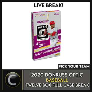 2020 DONRUSS OPTIC BASEBALL 12 BOX (FULL CASE) BREAK #A881 - PICK YOUR TEAM