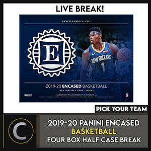 2019-20 PANINI ENCASED BASKETBALL 4 BOX (HALF CASE) BREAK #B502 - PICK YOUR TEAM