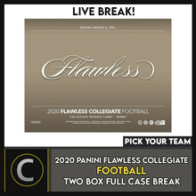 Load image into Gallery viewer, 2020 PANINI FLAWLESS COLLEGIATE 2 BOX (FULL CASE) BREAK #F591 - PICK YOUR TEAM