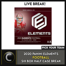 Load image into Gallery viewer, 2020 PANINI ELEMENTS FOOTBALL 6 BOX HALF CASE BREAK #F517 - PICK YOUR TEAM