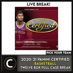 2020-21 PANINI CERTIFIED BASKETBALL 12 BOX CASE BREAK #B557 - PICK YOUR TEAM