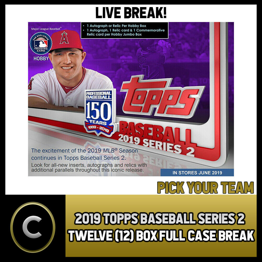 2019 TOPPS BASEBALL SERIES 2 12 BOX (FULL CASE) BREAK #A489 - PICK YOUR TEAM