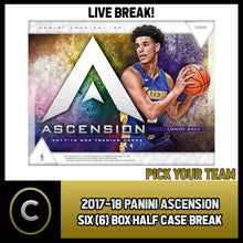 Load image into Gallery viewer, 2017-18 PANINI ASCENSION 6 BOX HALF CASE BREAK #B248 - PICK YOUR TEAM -