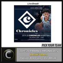 Load image into Gallery viewer, 2019-20 PANINI CHRONICLES 12 BOX (FULL CASE) BREAK #B483 - PICK YOUR TEAM