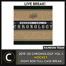 Load image into Gallery viewer, 2019-20 UPPER DECK CHRONOLOGY HOCKEY 8 BOX FULL CASE BREAK #H979 - RANDOM TEAMS