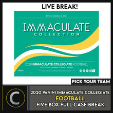 Load image into Gallery viewer, 2020 PANINI IMMACULATE COLLEGIATE 5 BOX (FULL CASE) BREAK #F530 - PICK YOUR TEAM