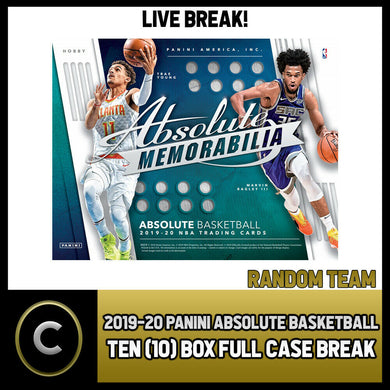2019-20 PANINI ABSOLUTE MEMORABILIA 10 BOX FULL CASE BREAK #B265 - RANDOM TEAMS