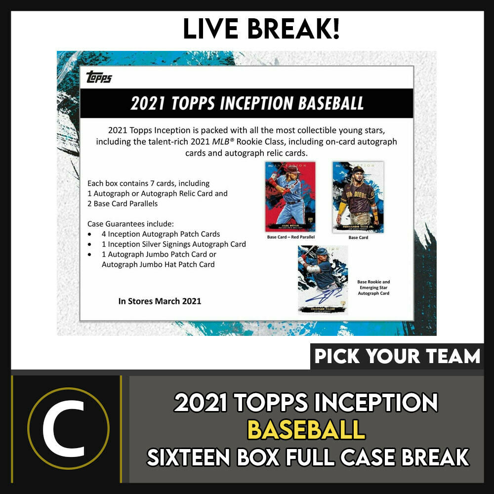 2021 TOPPS INCEPTION BASEBALL 16 BOX FULL CASE BREAK #A1084 - PICK YOUR TEAM