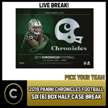 Load image into Gallery viewer, 2019 PANINI CHRONICLES FOOTBALL 6 BOX (HALF CASE) BREAK #F481 - PICK YOUR TEAM