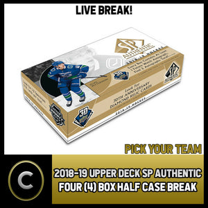 2018-19 UPPER DECK SP AUTHENTIC 4 BOX (HALF CASE) BREAK #H938 - PICK YOUR TEAM