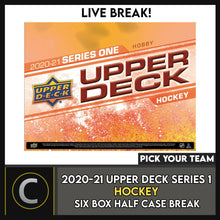 Load image into Gallery viewer, 2020-21 UPPER DECK SERIES 1 - 6 BOX (HALF CASE) BREAK #H996 - PICK YOUR TEAM -