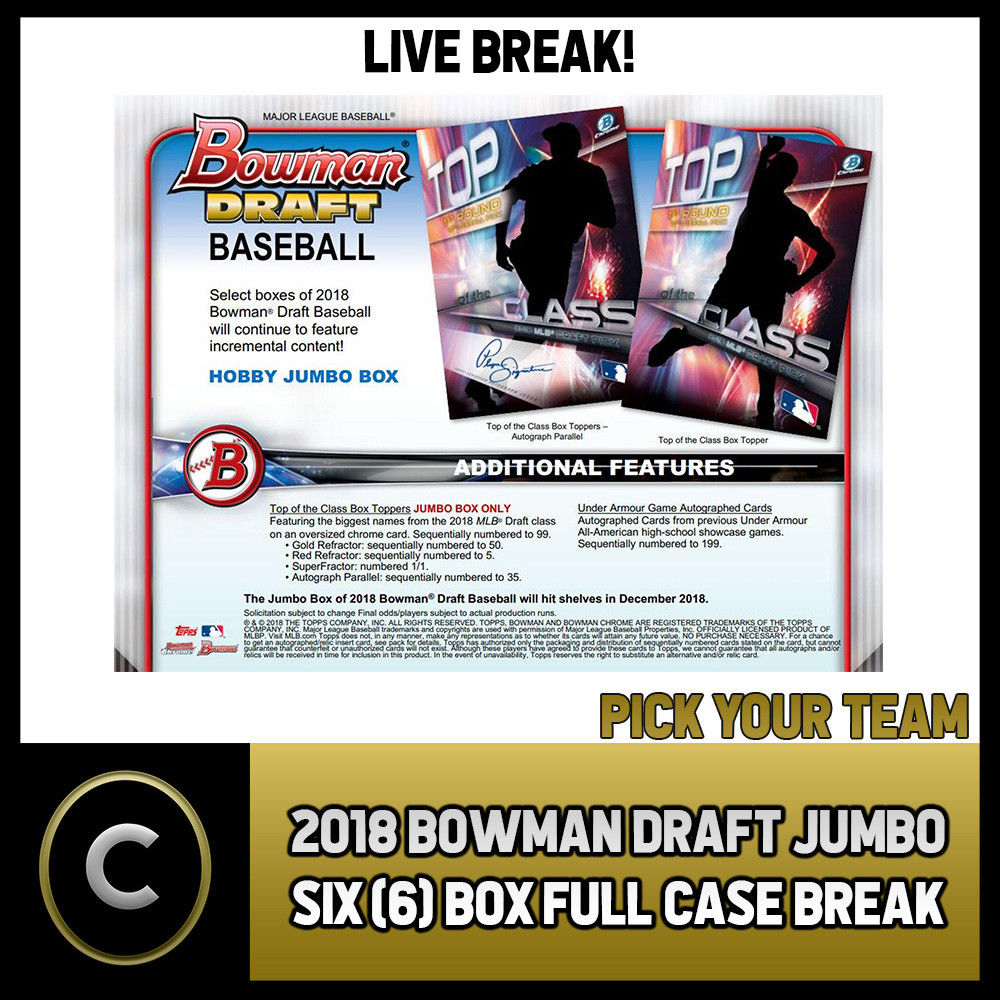 2018 BOWMAN DRAFT JUMBO BASEBALL 8 BOX (FULL CASE) BREAK #A180 - PICK YOUR TEAM