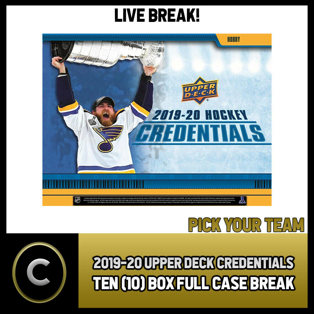 2019-20 UPPER DECK CREDENTIALS 10 BOX (FULL CASE) BREAK #H829 - PICK YOUR TEAM