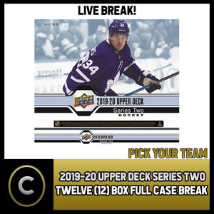 2019-20 UPPER DECK SERIES 2 HOCKEY 12 BOX FULL CASE BREAK #H747 - PICK YOUR TEAM