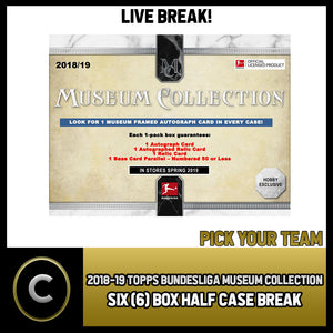 2019 TOPPS BUNDESLIGA MUSEUM COLLECTION 6 BOX BREAK #S130 - PICK YOUR TEAM