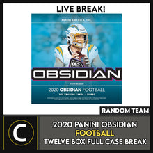 Load image into Gallery viewer, 2020 PANINI OBSIDIAN FOOTBALL 12 BOX (FULL CASE) BREAK #F615 - RANDOM TEAMS