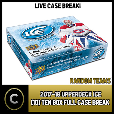 2017-18 UPPER DECK ICE TEN (10) BOX - FULL CASE BREAK #1035 - RANDOM TEAMS -