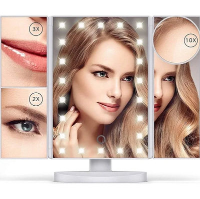 LED Makeup Vanity Mirror 1X 2x 3X 10x Magnification Tri Fold Adjustable Stand Dimmable
