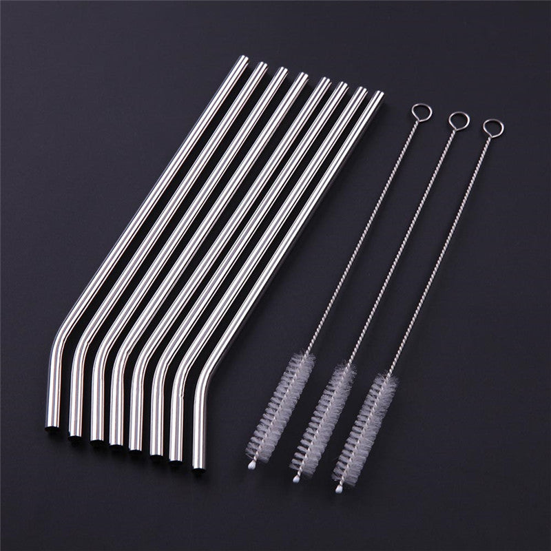9 PCS Reusable Stainless Steel Straws + 3 PCS Cleaning Brush